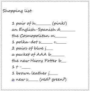 English vocabulary shopping list