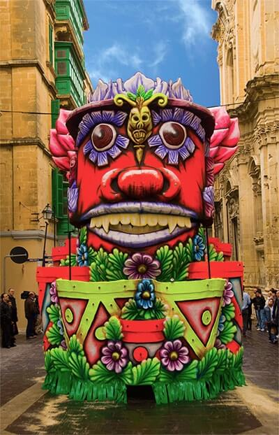 A very colourful float in Valletta.