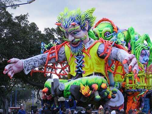 A frightening Carnival float in Gozo.