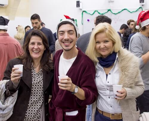 Some of our English language students at our school Christmas party.